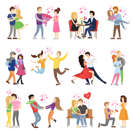 Happy couples in love surrounded with small hearts on romantic dates, hug tight, whirl in dance and make presents cartoon vector illustrations set.
