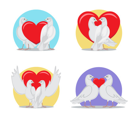 Gorgeous white doves couples in love with big red heart between or behind them isolated cartoon flat vector illustrations set for Valentines day. Foto de archivo - 95188385