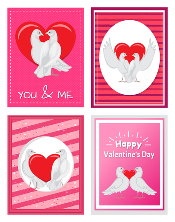 White Doves Couples with Heart Illustrations Set Çizim