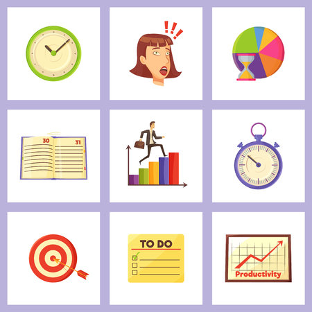 Mechanic clocks, shocked woman, colorful graphics, convenient diary, old timer, target with arrow and to do list isolated vector illustrations set.