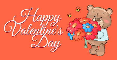 Happy Valentines day poster with teddy bear and bouquet of colorful flowers, bees flying above them vector. Isolated illustration of luxury blooming. Illustration