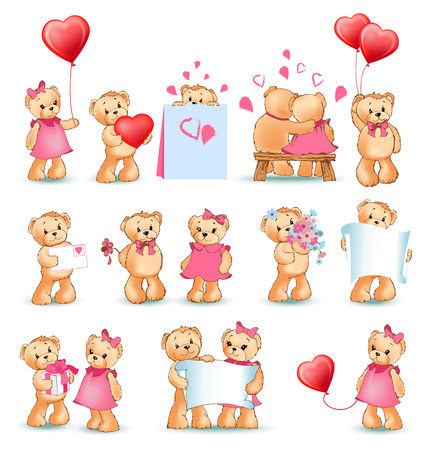 Teddy bears collection on Valentines day, characters with balloons and toys, love letters and flowers, sheet of paper. Isolated on vector illustration. Illustration