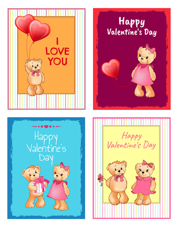 I love you and me teddy bears with heart sign vector illustration of stuffed toy animals, presents for Happy Valentines Day, cartoon posters Banque d'images - 95217982
