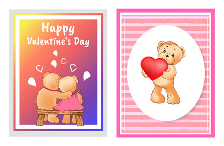 I love you and me teddy bears with heart sign vector illustration of stuffed toy animals, presents for Happy Valentines Day, cartoon posters.