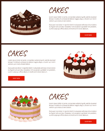 Cakes variety delicious desserts, web page for online shopping with text, sweet bakery with cream, banners isolated on vector illustration.
