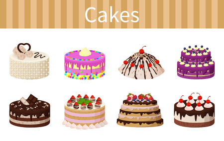 Cakes various delicious desserts vector illustration of different shapes pies with chocolate strawberries and red cherries, fruits and tasty frosting