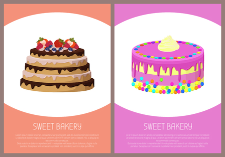 Cakes variety delicious desserts, web page for online shopping with text, sweet bakery with cream, banners isolated on vector illustration