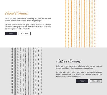 Cadenas de oro y plata, colección de páginas web con muestra de texto y titulares, joyas con información y botones. Aislado en ilustración vectorial