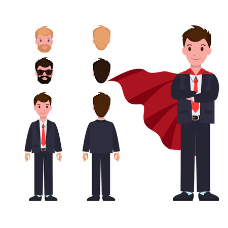 Businessman in formal suit and red cloak constructor with spare heads and whole body isolated cartoon flat vector illustrations on white background. Иллюстрация