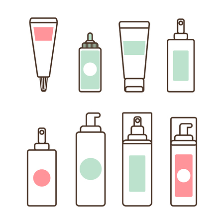 Plastic tubes and bottles with dispensers full of natural skincare means. Isolated minimalistic cartoon vector illustrations set on white background. Ilustração