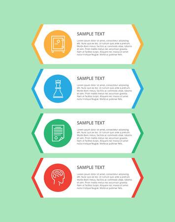 Infographic items and text sample in stripes, icons of human and brains, strongbox and chess figure, vector illustration isolated on green background Illustration