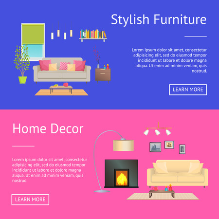 Stylish furniture and home decor web pages collection with headlines and text sample, buttons and image of safe and pillows. Vector illustration. Illustration