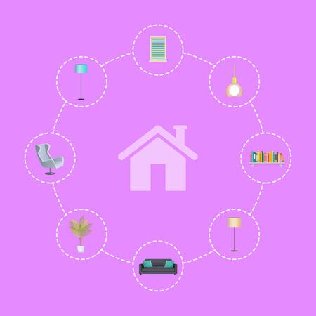 Interior design modern fashionable elements in circles, around house minimalistic icon. Isolated cartoon flat vector illustration on purple background..