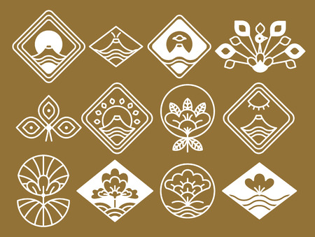 Japanese icons with natural and floristic motifs inside rhombic shapes white silhouettes isolated cartoon vector illustrations on brown background.