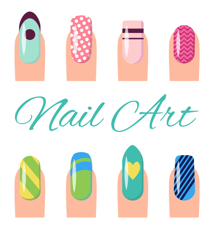 Nail art collection, poster with different styles and types of images on fingernails of women, title vector illustration isolated on white background