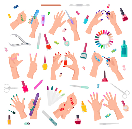 Nail service collection, poster with hands, and painted fingernails, bottles with gel, and polish, files and tubes with oils, vector illustration