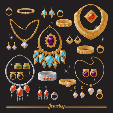 Conjunto de joyas de oro y plata lujosas y caras Ilustración de vector