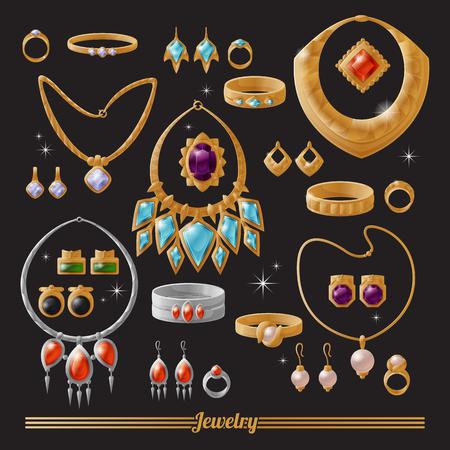 Lussuoso set di gioielli in oro e argento Vettoriali