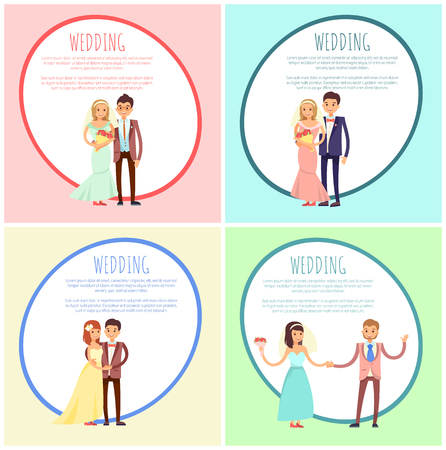 Newlyweds in Wedding Gowns and Festive Suits Set Illustration
