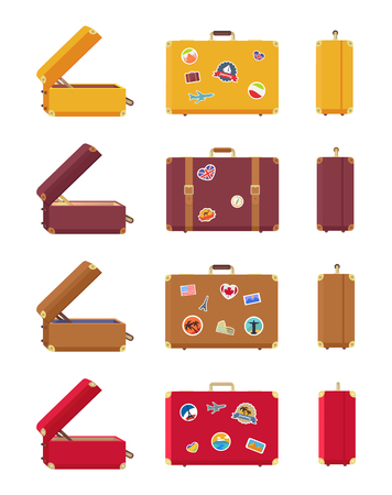 Multicolored Set of Suitcases Vector Illustration