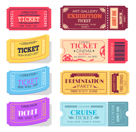 Ticket and Presentation Party Vector Illustration