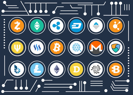 All kinds of cryptocurrency icons set inside circles on computer microscheme as background cartoon vector illustration. Digital money promo poster. Иллюстрация