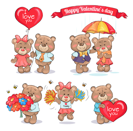 Happy Valentines day teddy bears who hold big balloon, colorful bouqet, huge heart, stand under umbrella and jump with pompoms vector illustrations.