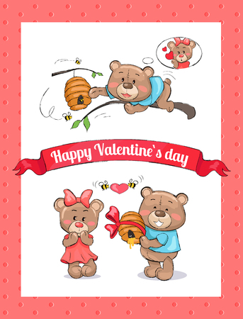 Happy Valentines day poster with male bear going to present hive full of honey to his girlfriend, bees holding heart in hands vector isolated on white