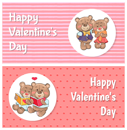 Happy Valentines day posters with soft fluffy teddies, female and male confused, couple read books vector illustration greeting cards with text Illustration