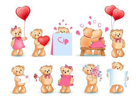 Teddy bears collection on Valentines day, characters with balloons and toys, love letters and flowers, sheet of paper, isolated on vector illustration