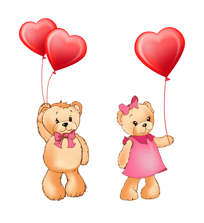 Teddy bear couple holding balloons of red color of heart shape, fluffy characters and Valentines day celebration isolated on vector illustration Illustration