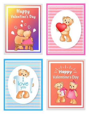 Je t & # 39 ; aime et vous bear ours avec le signe de coeur coloré illustration de peluche vecteur de peluche pour des valentines de conception de vecteur de décoration de jésus Banque d'images - 95338741