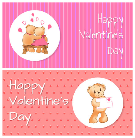 Happy Valentines Day horizontal postcards with bears which sit on wooden bench and hugs and one that holds envelope cartoon vector illustrations.