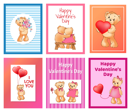 I love you and me teddy bears with heart sign vector illustration of stuffed toy animals, presents for Happy Valentines Day, cartoon posters