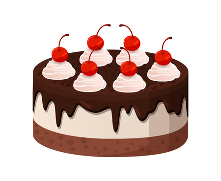Tasty cake made of tender cream with liquid dark chocolate and sweet cherries on top isolated cartoon flat vector illustration on white background.