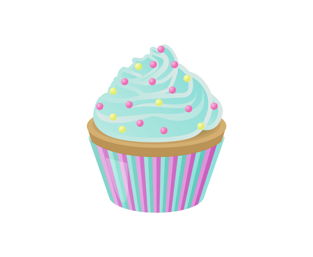 Cupcake with blue sweet cream and bright colorful round sprinkles on top in striped wrapper isolated cartoon vector illustration on white background.