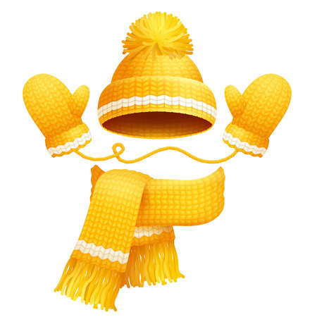 Cute yellow hat with pretty bubo on it, scarf and gloves with white lines vector illustration of knitted clothes for winter isolated on white backdrop
