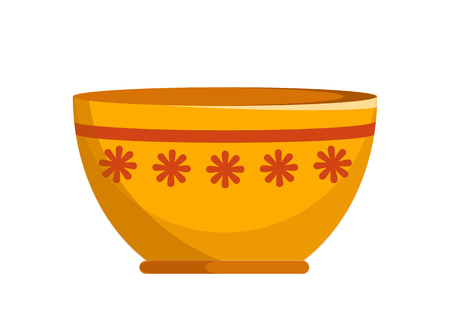 Capacious ceramic bowl with small flowers pattern and thin stripe. Convenient kitchenware isolated cartoon vector illustration on white background.