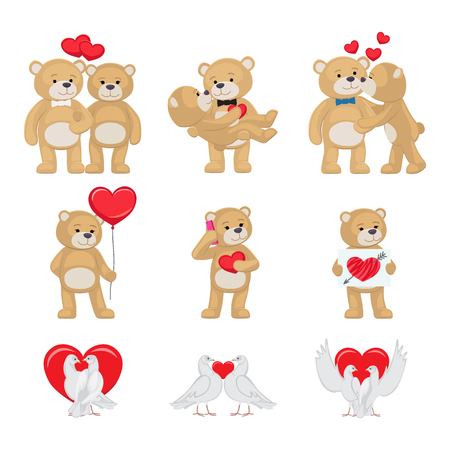 Cute soft toy bears that hold hands and kiss and white doves couples in love with red hearts isolated cartoon vector illustrations for valentines day. Illusztráció
