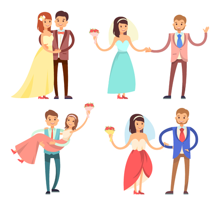 Newlyweds celebration collection, partying bride and groom, dancing and hugging, woman with bouquet and man dressed in suit vector illustration