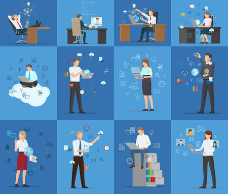 Many technology business cards vector illustration of working employees isolated on blue background clouds schedules clocks loupe bulb and other icons