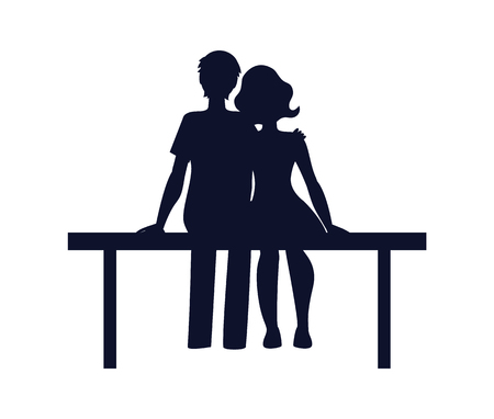 Couple in love cuddling and sitting on bench, silhouette of man and woman having good time together, colorless poster isolated on vector illustration Illustration