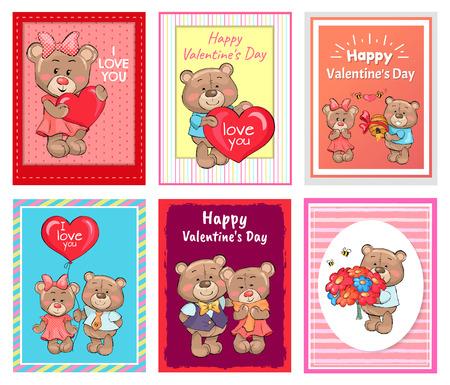 I love You Happy Valentines Day Set of Poster Bear Ilustração
