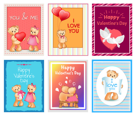I Love You and Me Teddy Bears Vector Banque d'images - 95373285