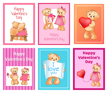 I Love You and Me Teddy Bears Vector 版權商用圖片 - 95373287