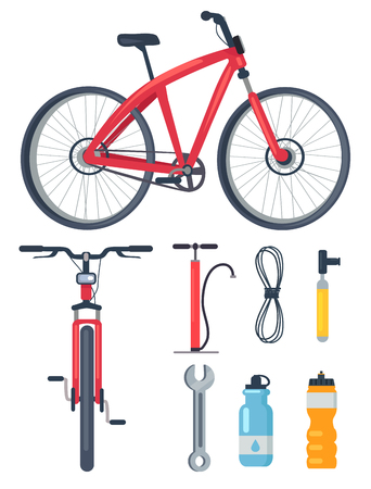 Bicycle Side and Front View Metal Wrench Icons Set