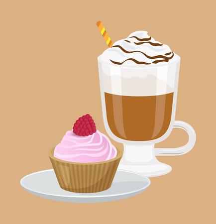 Cupcake und Cappuccino Poster Vektor-Illustration Standard-Bild - 95373345