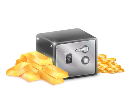 Metal Safe Strongbox with Golden Coins Gold Bars Illustration