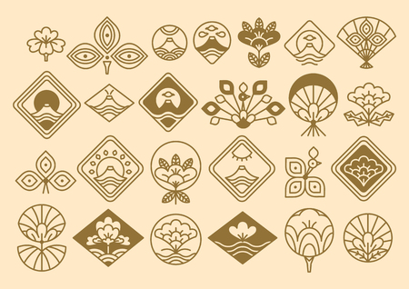 Japanese Icons Big Collection Vector Illustration