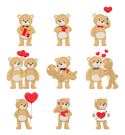I Love You and Me Teddy Bears Vector Illustration